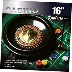 16-inch Roulette Wheel Game Set With 120 11.5-gram Chips Full Size 3and039x6and039
