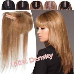 Clip In Real Remy Human Hair Topper Bangs For Women Hairpiece Cover Loss Hair Uk