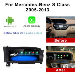 Android 10 Car Gps Radio Stereo Wireless Carplay For Mercedes Benz S Class 2005