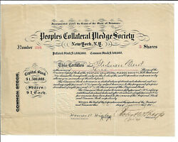 New York 1911 Peoples Collateral Pledge Society Stock Certificate