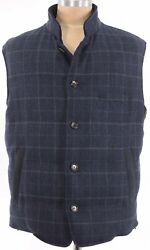 Luciano Barbera Nwt Down Vest 60 Us 2xl Blue W/ Gray Plaid Wool Suede Details