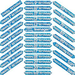 9ft Blue And Silver Holographic Foil Party Birthday Banner Decoration