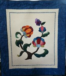 Handmade Quilted Wall Hanging Quilt Jacobean 24x28 On Dowel Floral