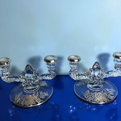 """Vtg Pair Of Crystal Etched Martinsville Candleholders, 5"""" T X 7"""" W,euc, Wedding"""