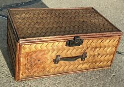 Antique Woven Rattan Bamboo Suitcase Luggage Trunk Swedish American Line Tweed