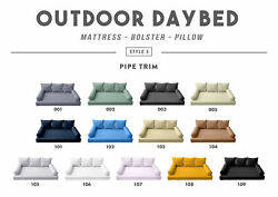 Style3 6pc Pipe Trim Outdoor Daybed Mattress Cushion Bolster Pillow Complete Set