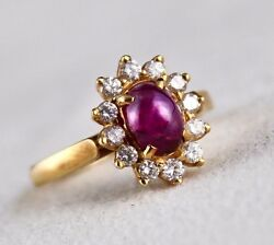 Natural Ruby Star Ring 18k Yellow Gold White Diamond Untreated Stone Cabochon