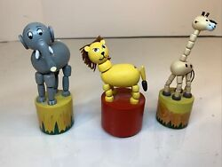 3-vintage Wooden Push Button Thumb Collapsible Toys- Zoo Animals