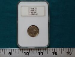 1913 Type 1 Buffalo Nickel Certified Ngc Ms 64 5-cents Die Rotation 5377