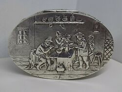 Rare Antique Dutch Silver Snuff Box. Pub/tavern Scene. Superb Quality. Ncb