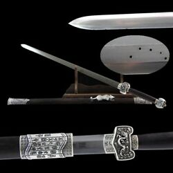 Hand Forged Pattern Steel Military God Double-edged Sword Silver Fittings 006