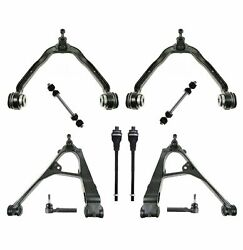 10 Pc Upper And Lower Control Arm Sway Bars Tie Rods For Chevy Gmc Tahoe Silverado