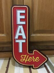 Eat Here Arrow Drive In Diner Kitchen Vintage Style Neon Decor