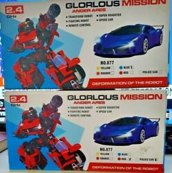 2 Glorous Mission Anger Ares Transformation Robots 2.4 Ghz Rc Car Red/blue