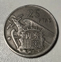 1957 25 Ptas Coin Star Number 58. Good Condition.