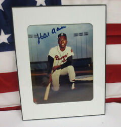 Hank Aaron Signed Picture Framed Milwaukee Braves Mlb Baseball Collectible