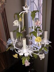"""Vintage Italian French Hand Painted Tole 4 Light Chandelier Floral 12"""" X 18"""""""