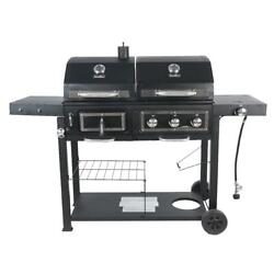 Charcoal Gas Grill Combo Bbq Outdoor Portable Wheels Burger Steak Cooking Large