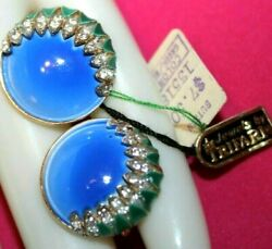 Omg Pristine Crown Trifari Signed Enamel And Rhinestone Clip Onand039s With Tags
