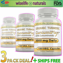 1 Herbal Supplements Mega Potency Turmeric With Black Pepper Extract Pills X3