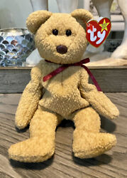 """Ty Beanie Baby """"curly"""" The Bear With Brown Nose Many Tag Errors Retired 1996"""