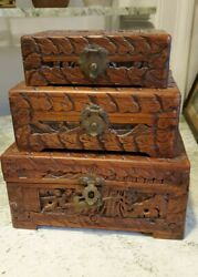 Set Of 3 Antique Chinese Carved Boxes Ornate Wood Brass Closure Lock Wooden Box