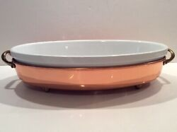 Williams Sonoma Portugal Copper And Porcelain Insert Oval Casserole Baking Dish
