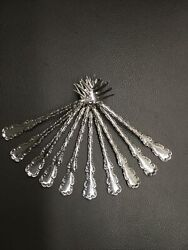 """Antique Whiting Louis Xv Sterling Silver Oyster Forks 10 5.5"""" Monogrammed C"""