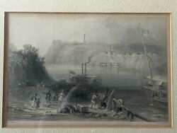 Uber Rare Antique Color Etching Steam Ships Print 3