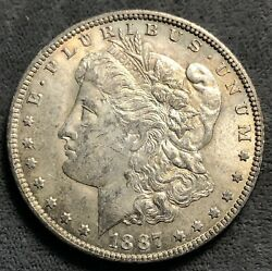 1887-o Morgan Silver Dollar. Vam 22a. Double Eye Lid And Pitted Reverse.