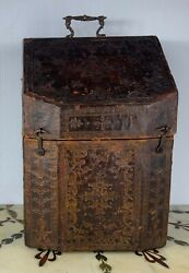 18th 17th Century Spanish Box With Leather And Gold Decoration