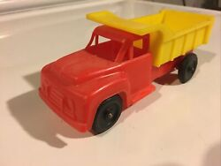 Tico Toys Plastic Dump Truck 1960's 6 Long Soft Plastic Dime Store Red/yellow 3