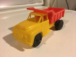 Tico Toys Plastic Dump Truck 1960's 6 Long Soft Plastic Dime Store Yellow/red 4