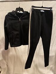Prada Jogging Suit Medium Hooded Jacket And Pants With Black With White Stripe
