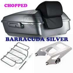 Barracuda Silver Chopped Tour Pack Pak Luggage For 19+ Harley Street Road Glide