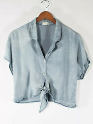 Wilfred Free Womenandrsquos Xs Blue The Tie-front Blouse Denim Shirt Light Wash Top