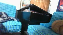 1940and039s Daybed Couch With Corner Storage Table Blue Checkered With Black Cane Sid