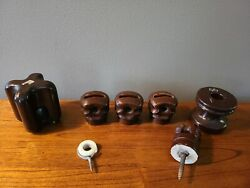 Vintage Lot Of 7 Brown And White Porcelain Ceramic Telephone Pole Insulators