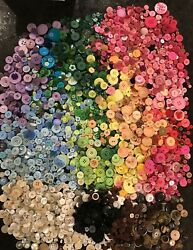 Sewing Craft Colorful Buttons- Huge Lot - New And Vintage -approx 5000/ 7.3lbs+