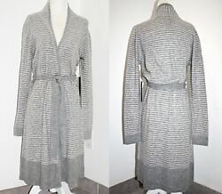 Tahari Luxurious Pure Luxe Cashmere Striped Belted Cardigan Robe 39 Long Xs-xl