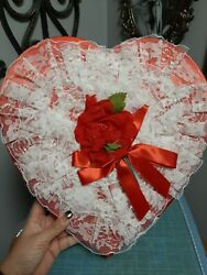 Vintage Valentine Candy Box Red With Ruffles