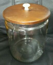Vintage Huge Glass 3 Gal Jar Container Property Of Plezall Cookie Co W/lid
