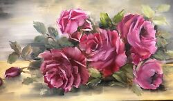 Handpainted Cranberry Antique Style Cabbage Roses Oil On 12 X 24 Canvas