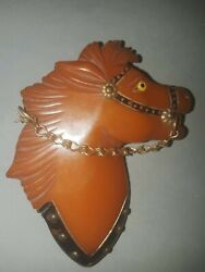 Vintage 3 Amber Bakelite Horse Head Brooch / Pin With Glass Eye And Chain Bridle