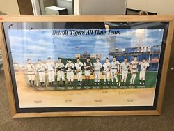 Detroit Tigers All-time Team Autographed Signed Framed Lithograph /1999 Kaline