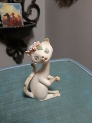 Vintage Lefton White Porcelain Cat Figurine Pink Roses Rhinestone Eyes 3212