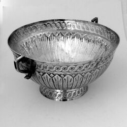 Spanish Colonial Ornate Footed Bowl Two Handles 19th Century Coin Silver