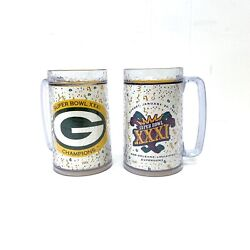2 Super Bowl Xxxi Insulated Thermo-serv Mugs, Green Bay Packers Champions 1997