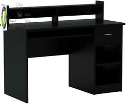 Onespace Essential Computer Desk Hutch With Pull-out Keyboard Black