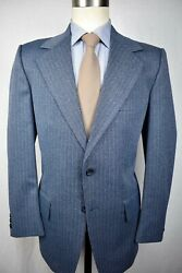 1970and039s Foreman And Clark Blue Striped Polyester Two Button Two Piece Suit Sz 40s